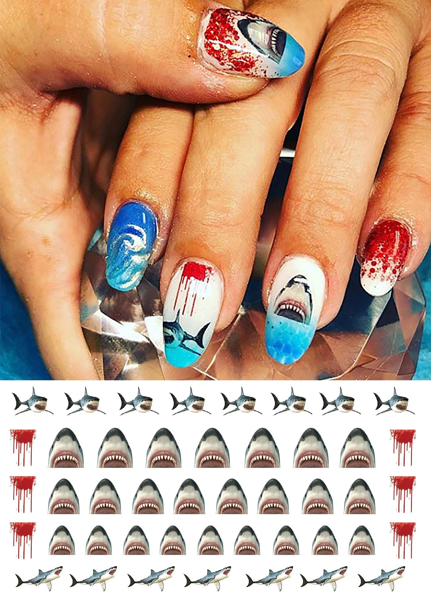 Pin by Moon Sugar Decals on Shark Week Nail Art Decals