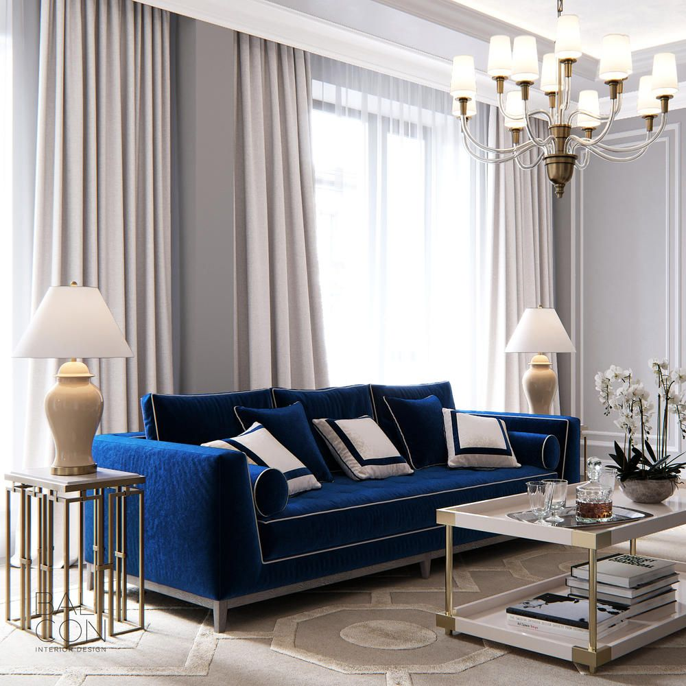 Balcon Luxury Elegant And Beautiful Living Room With Royal Blue Sofa And Gold Side Tab Blue Living Room Decor Blue Sofas Living Room Blue And Gold Living Room