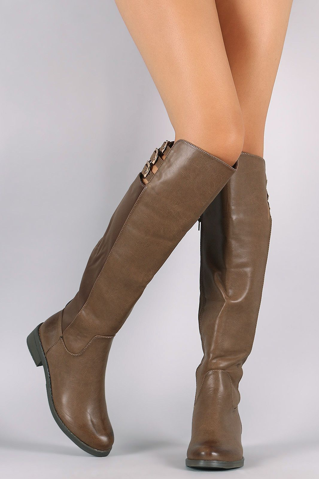 Liliana Buckle Straps Knee High Riding Boots