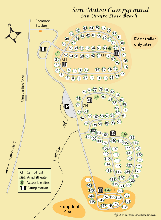 map of San Mateo Campground at San Onofre State Beach, CA ... Campground Map California on