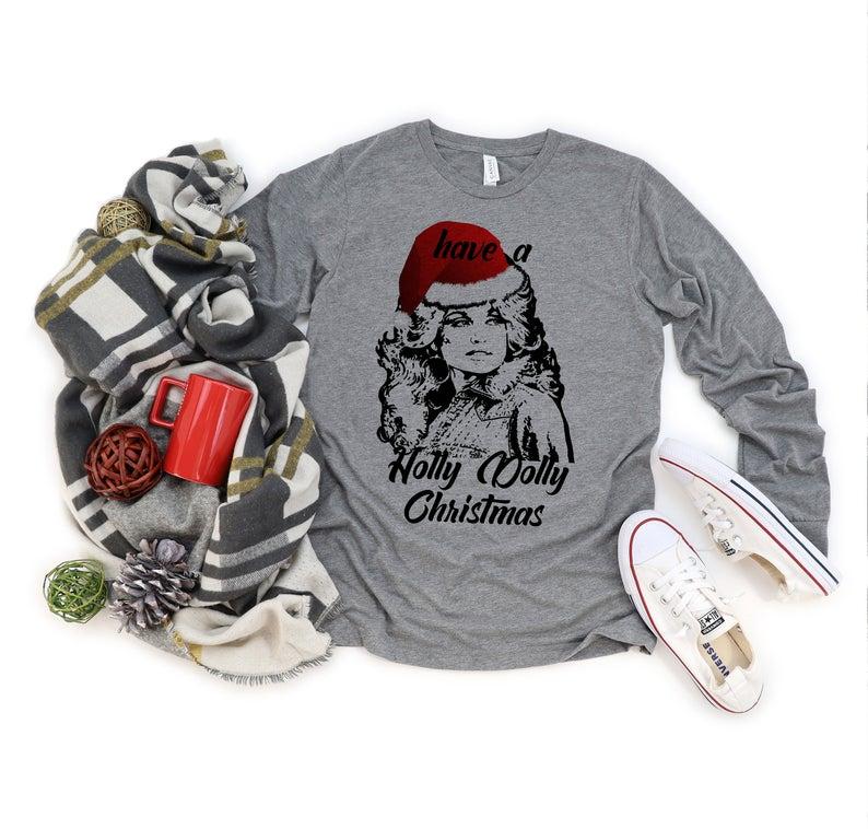 Long Sleeve Holly Dolly Christmas Shirt Unisex Holiday
