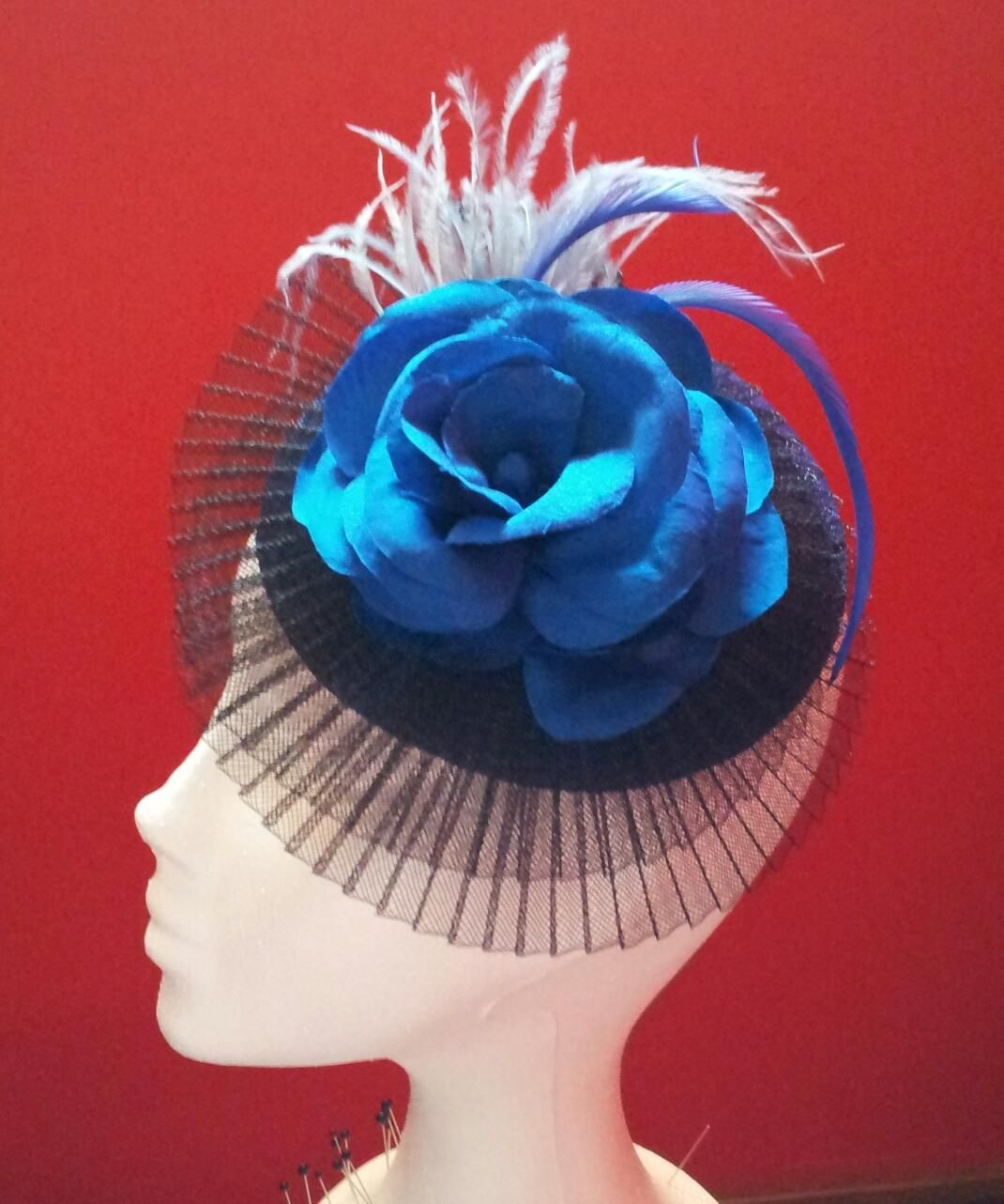 Fascinator Hat  o Tocado Blue and Black