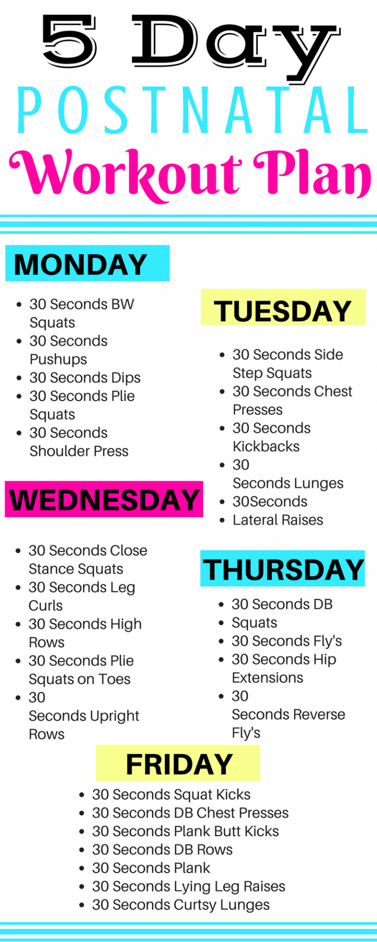 Photo of 5 Day Postnatal Workout Plan – Michelle Marie Fit