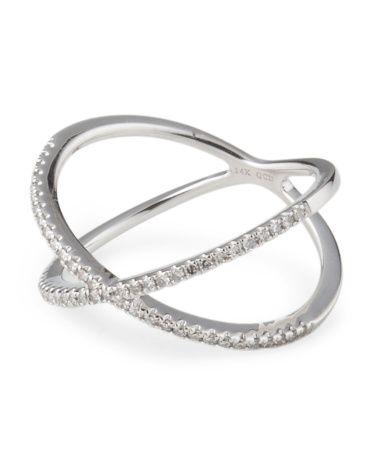 tjmaxx Perfect 14k White Gold Diamond X Ring Rings T J Maxx