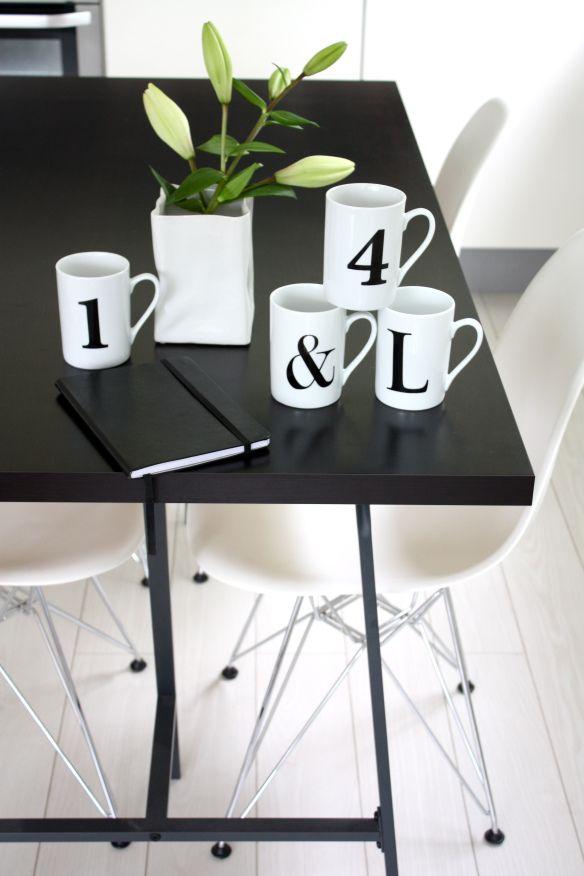 Via Home Via Laura | Letter Mugs | Eames | Black and White