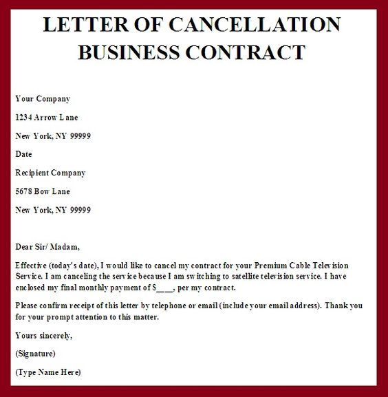 Sample Contract Termination Letter Real Form Notice Period