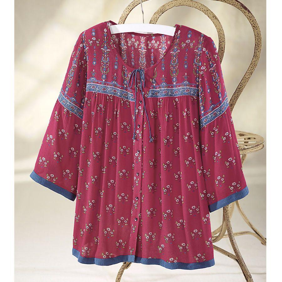 Crinkle Peasant Blouse - Women's Clothing, Unique Boutique Styles & Classic Wardrobe Essentials