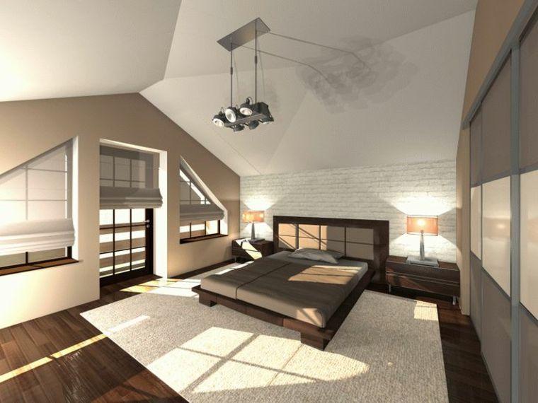 moderna e ampia camera da letto con struttura letto in legno scuro ...