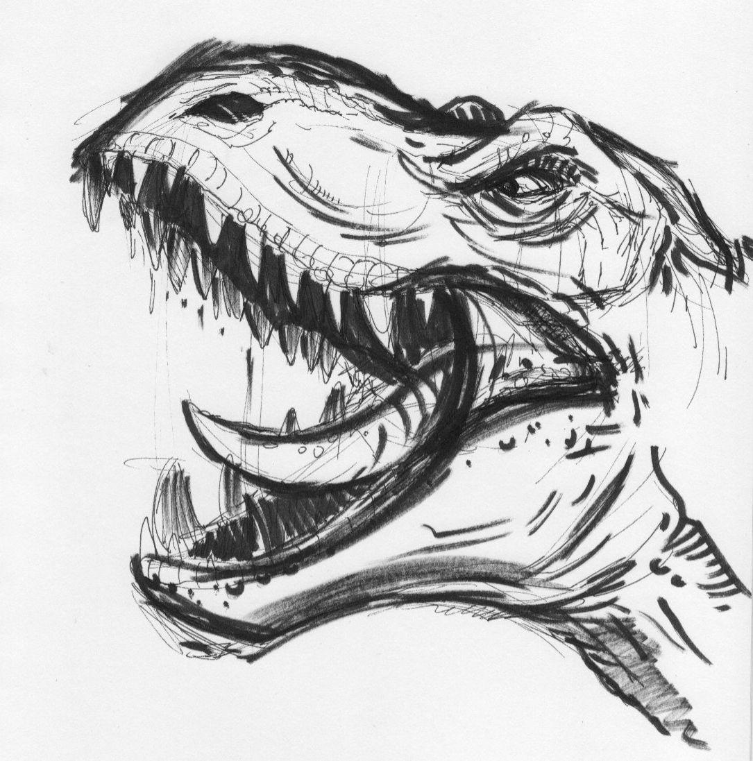Dinosaur sketch pretty sick art of the world for Easy art drawing ideas