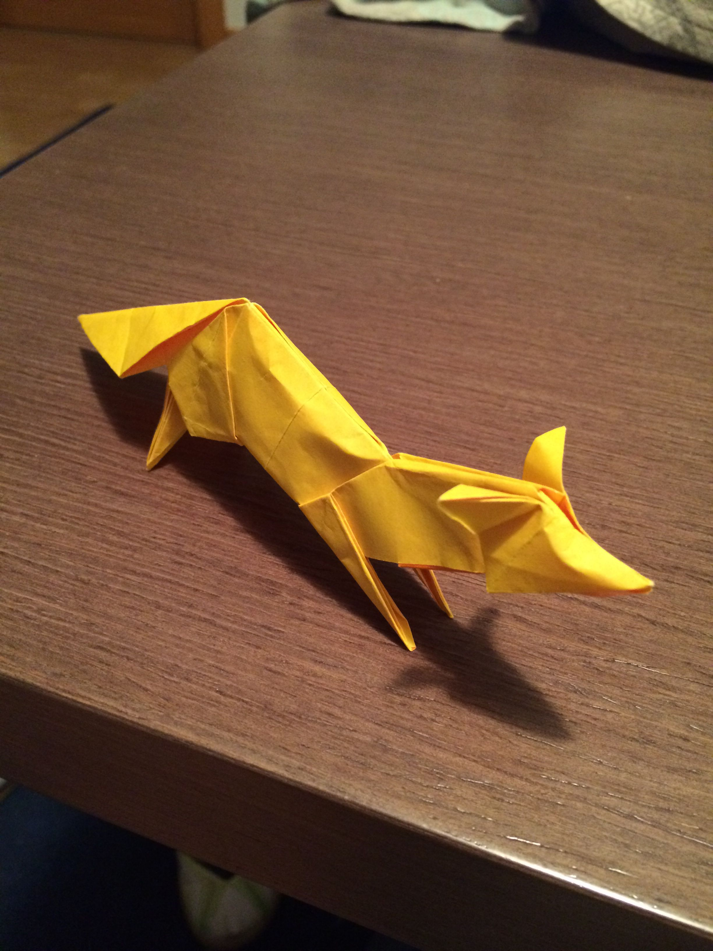 Origami Orange Diagram Wiring Bots Complex Diagrams Fox Made Of 20x20 Cm Double Sided Yellow