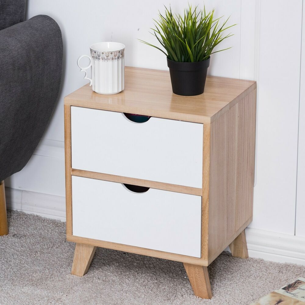 Industrial Side Table Small Bedside Cabinet 2 Drawer Unit Storage