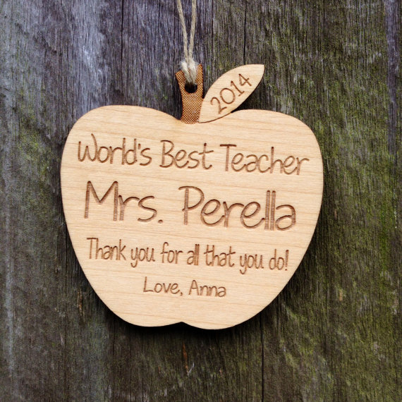 Personalized Teacher Gift: Personalized Apple Ornament
