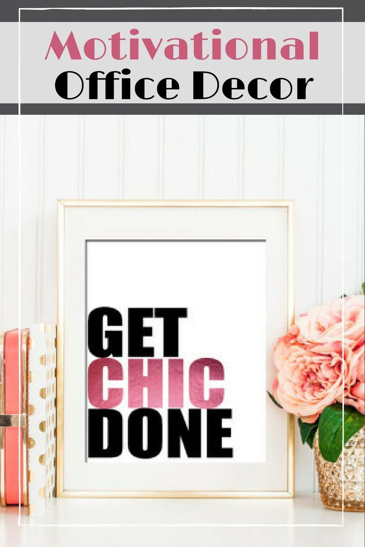inspirational office decor. Get Chic Done, Office Decor, Funny, Motivational Wall Quote, Black Inspirational Decor E