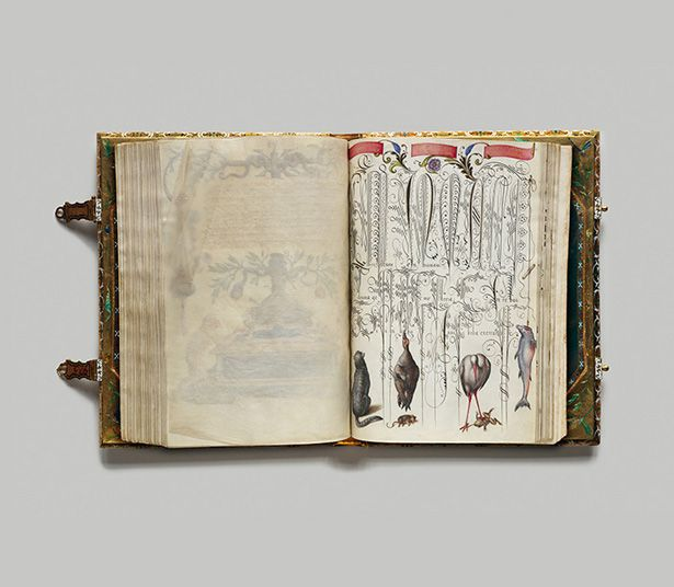 """Schriftmusterbuch""""(Font sample book), ca. late 16th/early 17th century.Cover: leather, heliotrope, gold enamel; garnets: 127 parchment she..."""
