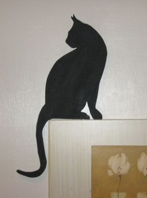 Cat Looking Back Silhouette For Picture Or Door Topper