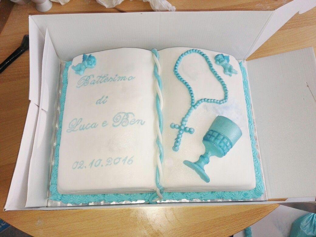 Torte fondant Buch taufe Kommunion battesimo Kreuz Kelch