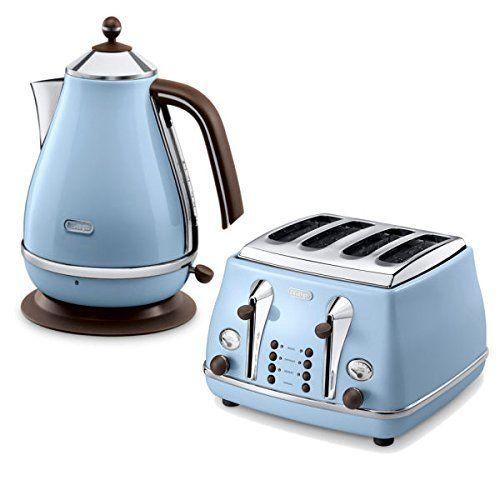 De'Longhi Icona Vintage 4 Slice Toaster and Kettle Bundle - Blue ...