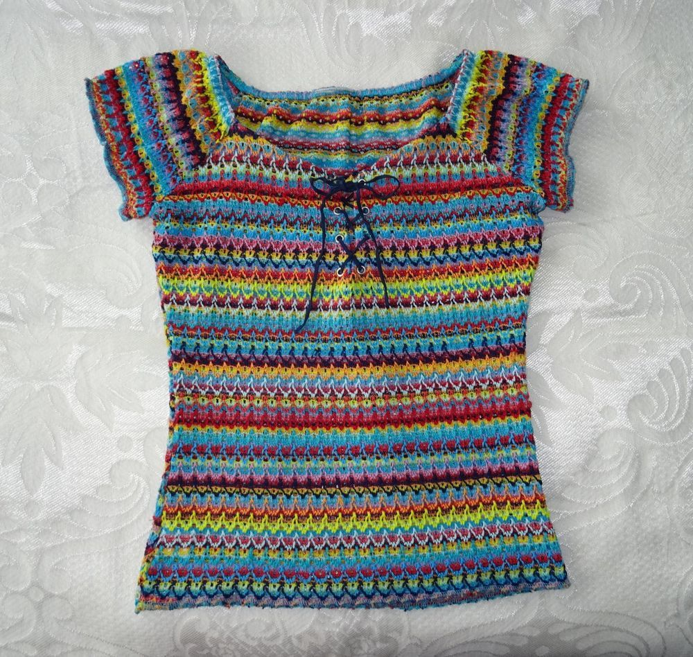 Ladies 1990's Multi-Coloured Top Size 12, Vintage 90s Rainbow Summer Festival  #Unbranded #Casual