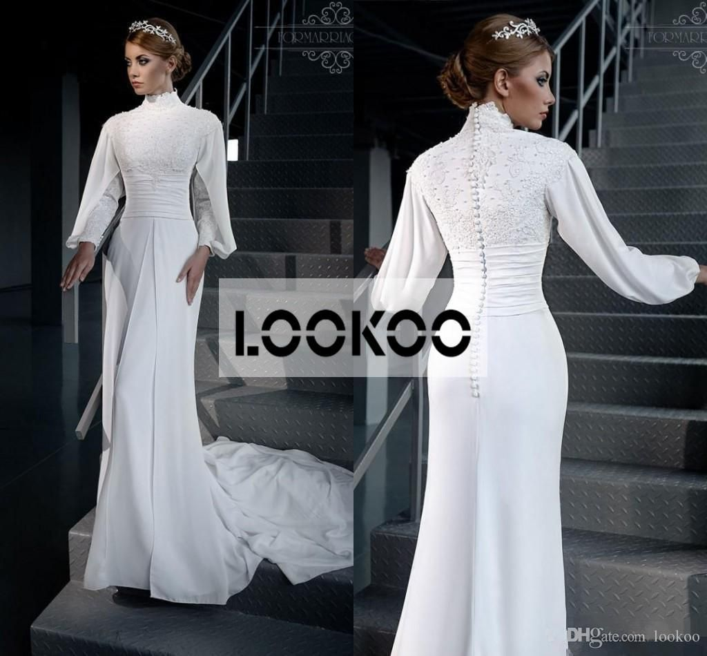 Long sleeve plus size wedding dress  White Long Sleeves New Designer Vestidos Modest Muslim Plus Size