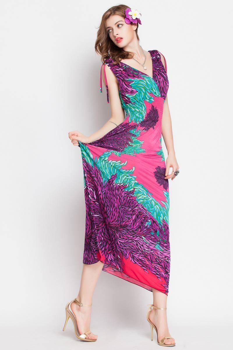 36f968fee Bohemia Printed V Collar Maxi Dress  Maxi Dress Dresses Women s  clothing Wholesale Clothing online from China