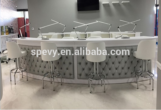 Source Pu Leather Covers Curved Nail Table Manicure Bar Station On  M.alibaba.com