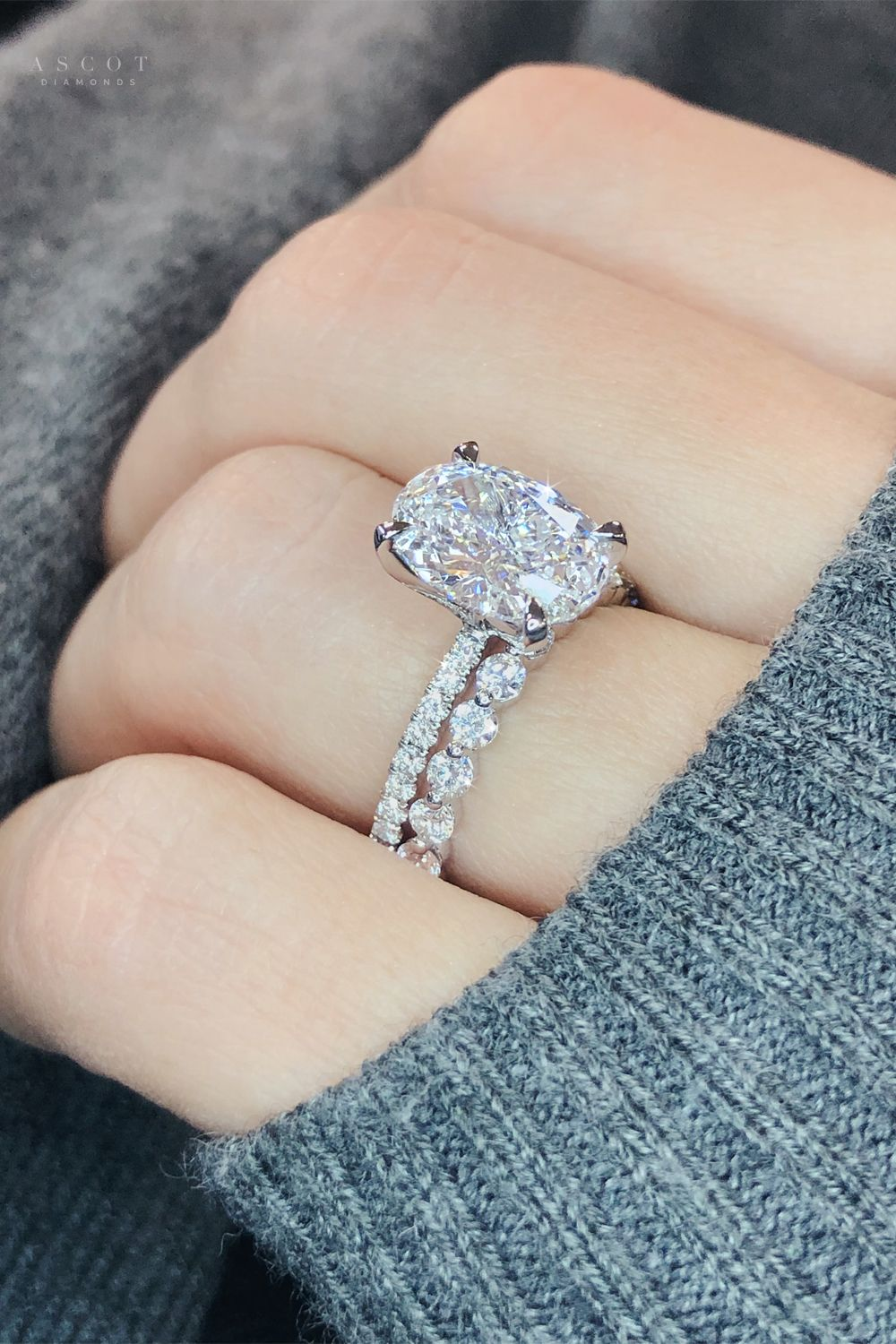 In ���� ️ with this Oval Cut Diamond Ring and Eternity Diamond Band - Ascot Diamonds