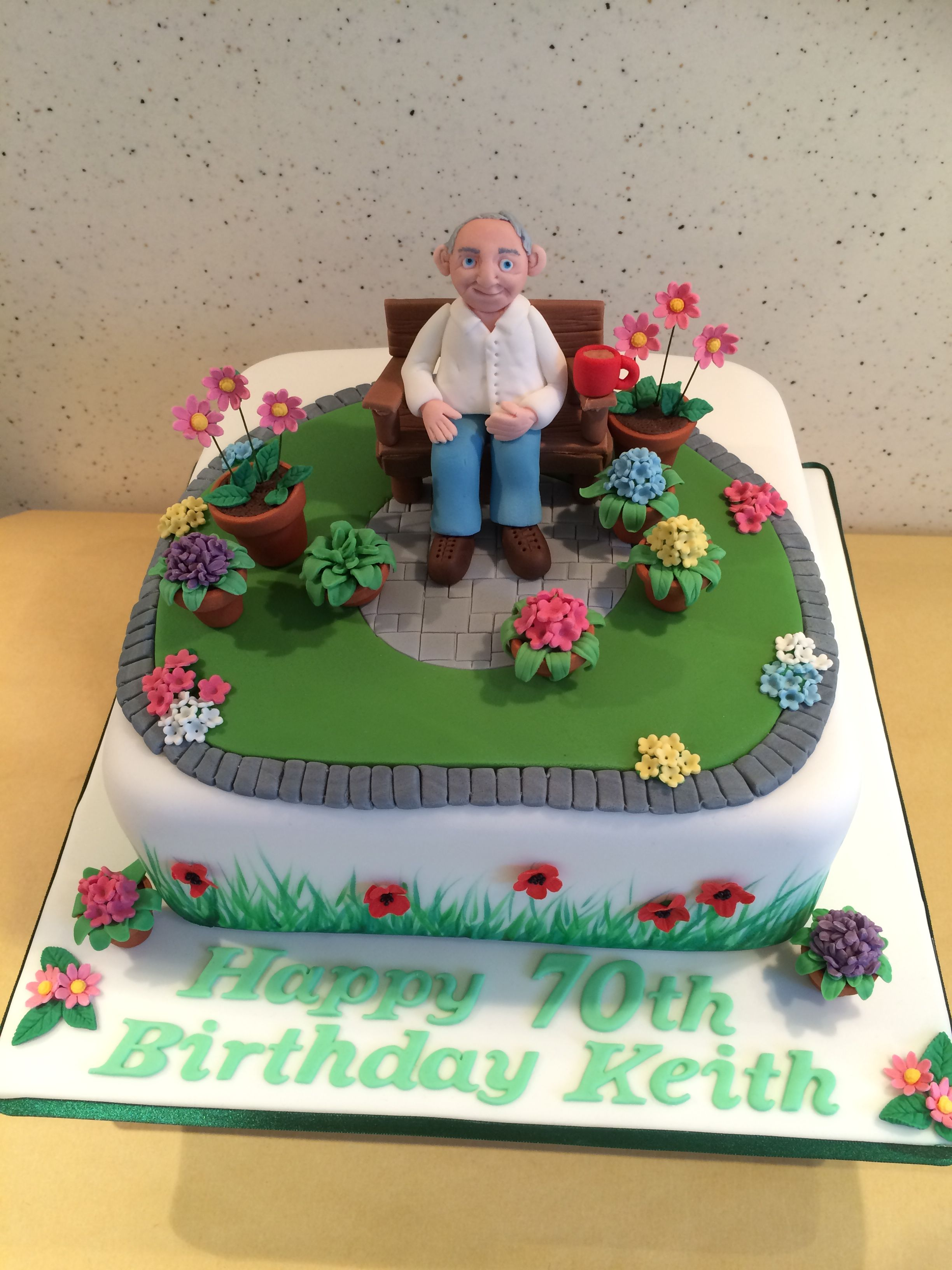 Prime 70Th Birthday Cake Old Man And His Flower Garden Garden Funny Birthday Cards Online Overcheapnameinfo