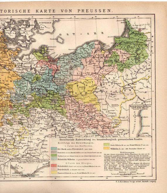1895 Prussia Historic Map, Historische Karte von Preussen
