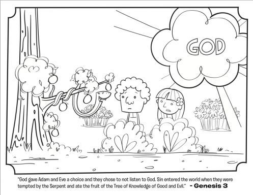 kids coloring page from whats in the bible featuring adam and eve and serpent from