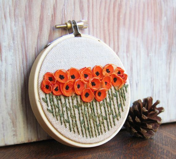 Orange Poppies Embroidered Art by Sidereal