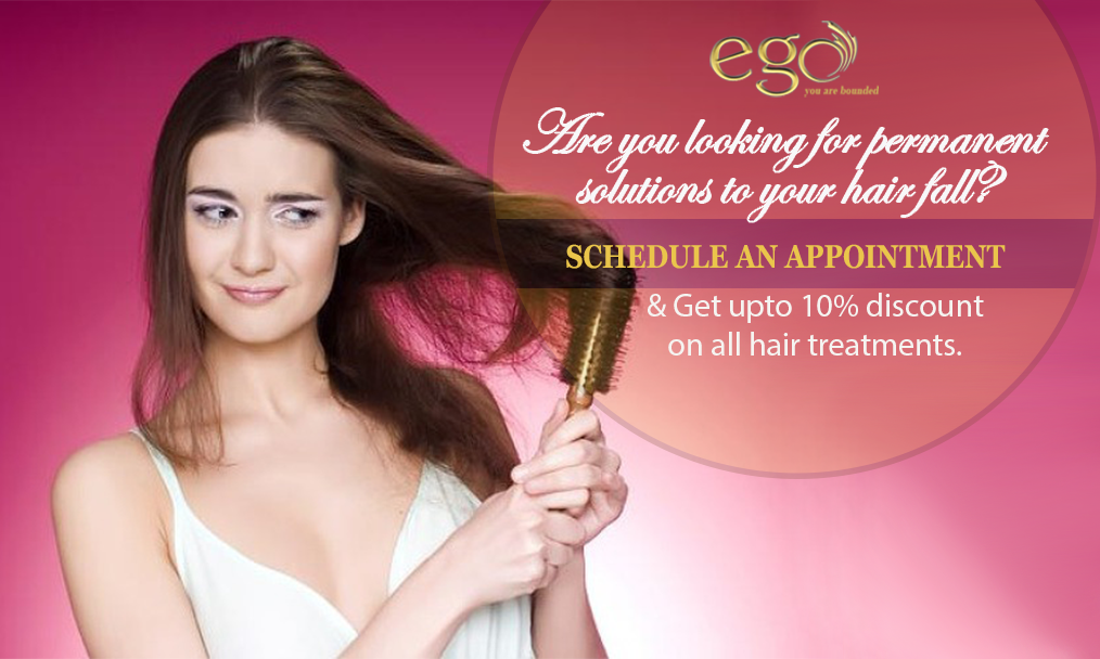 Are you looking for permanent solutions to your hair fall? SCHEDULE AN APPOINTMENT Get upto 10% discount on all hair treatments visit: www.goego.in