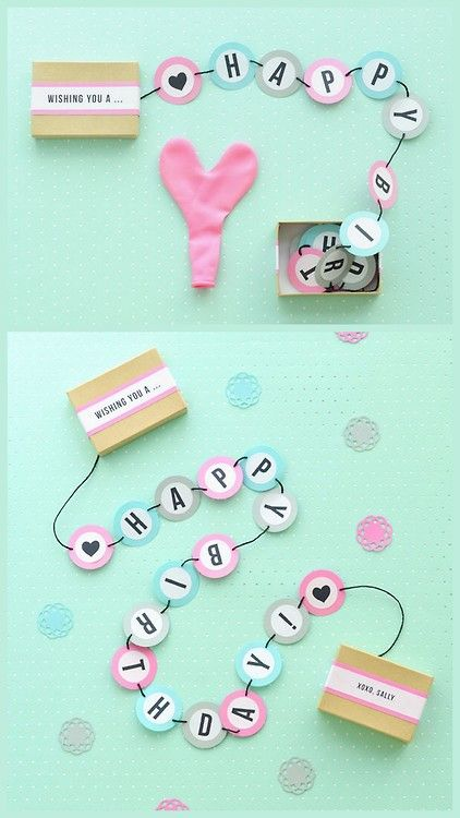 DIY Birthday Party Banner in a Box! You could also sandwich the banner between pages of a card.