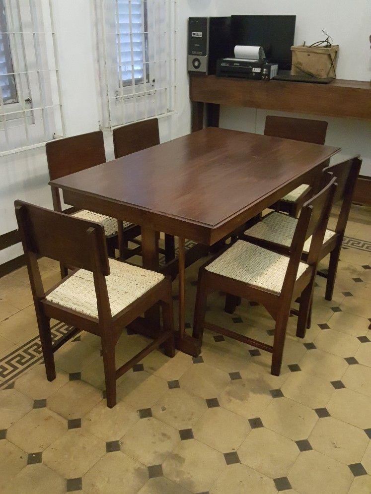 For Sale Meja Makan 6 Kursi Rotan Antique Teak Dining Table