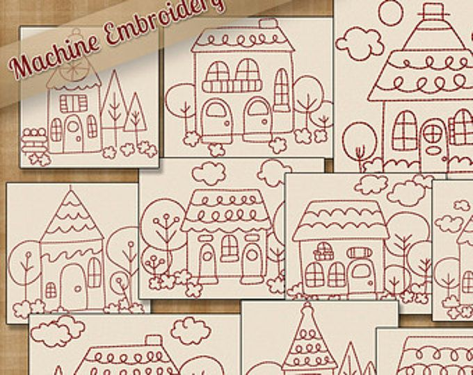 Redwork Whimsical Summer Things Machine Embroidery Patterns ...