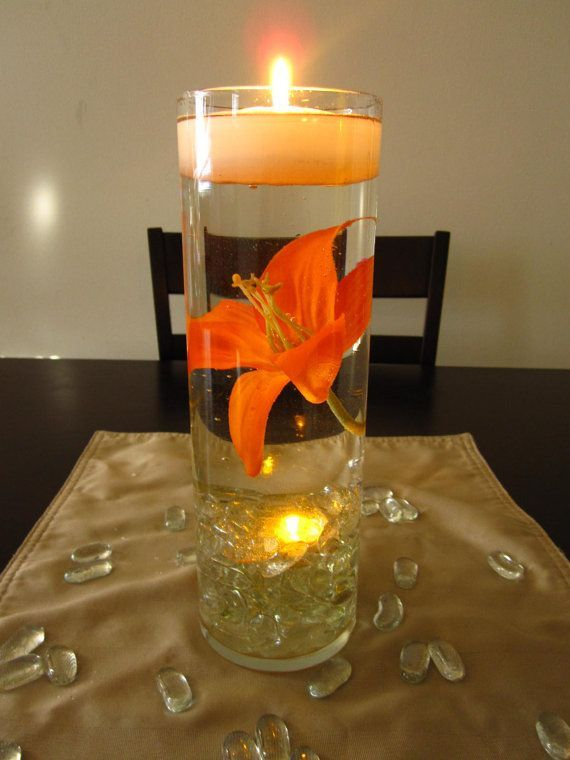Floating candle wedding centerpiece kit orange lilies led