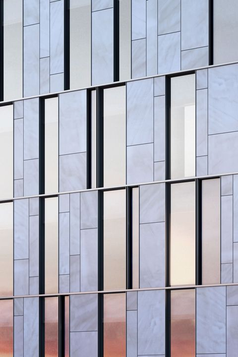 Limestone Glass And Steel Curtain Wall Facade Detail At One Vandam In Nyc By Bksk Architects