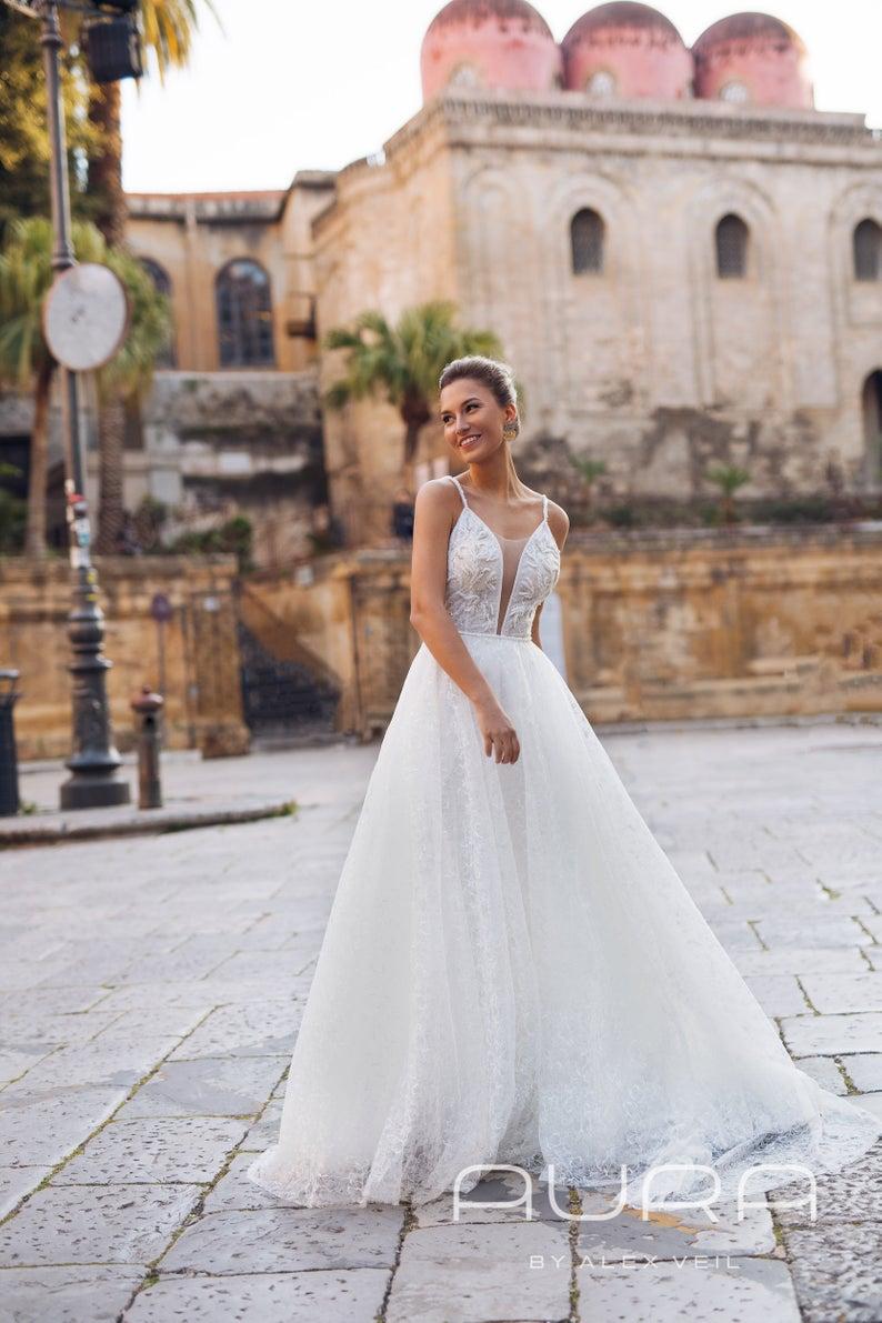 Wedding Dress Adora Light Classical A Line Wedding Etsy Wedding Dresses Beach Wedding Gown Tulle Wedding Dress