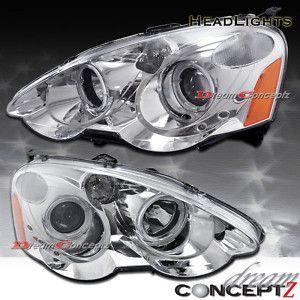 02 03 04 Acura Rsx Dual Halo Projector Headlights Chrome Housing 150 Acura Rsx Projector Headlights Acura