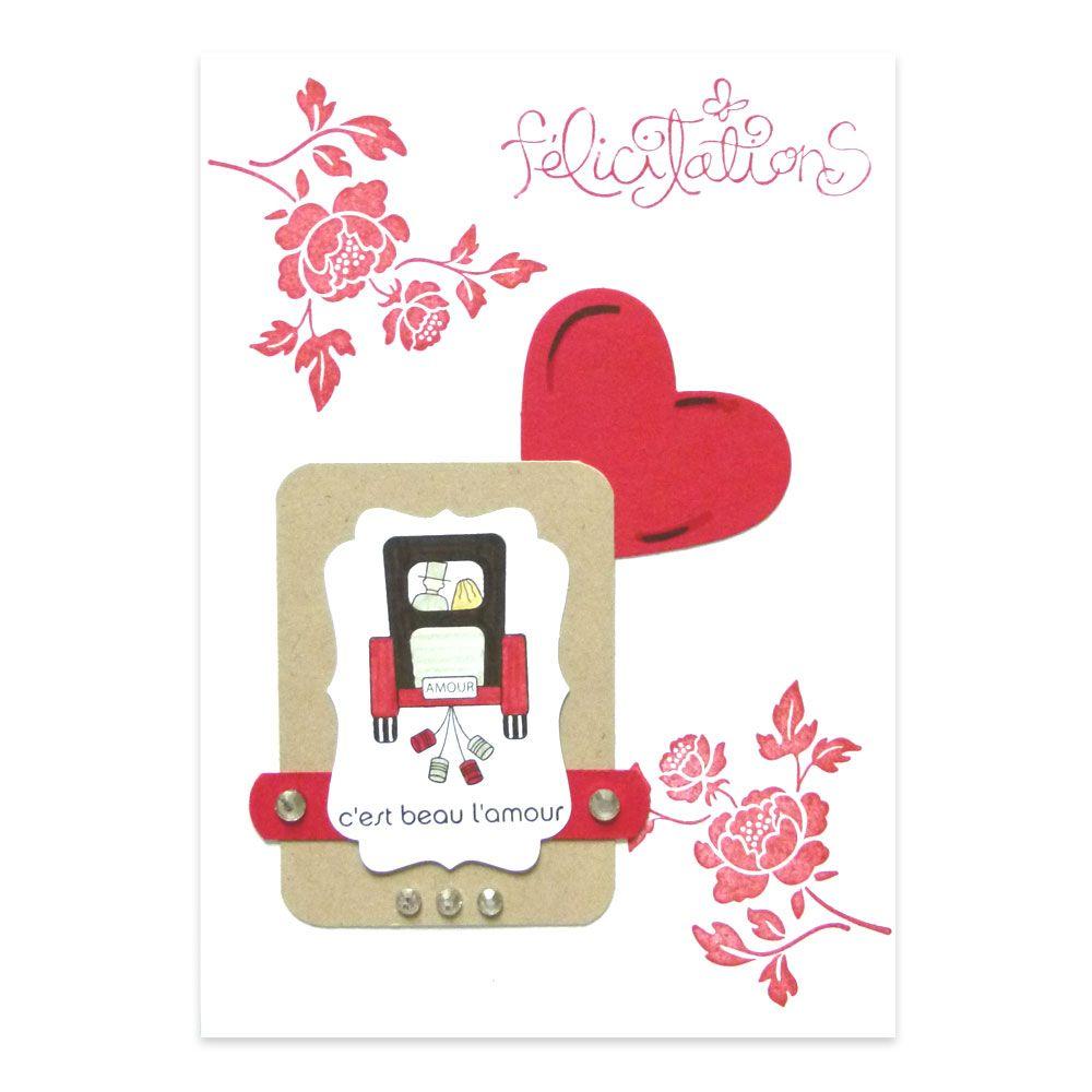 carte flicitations mariage carrosse rouge et noir collection fannyscrap lovely carte - Carte Flicitation Mariage
