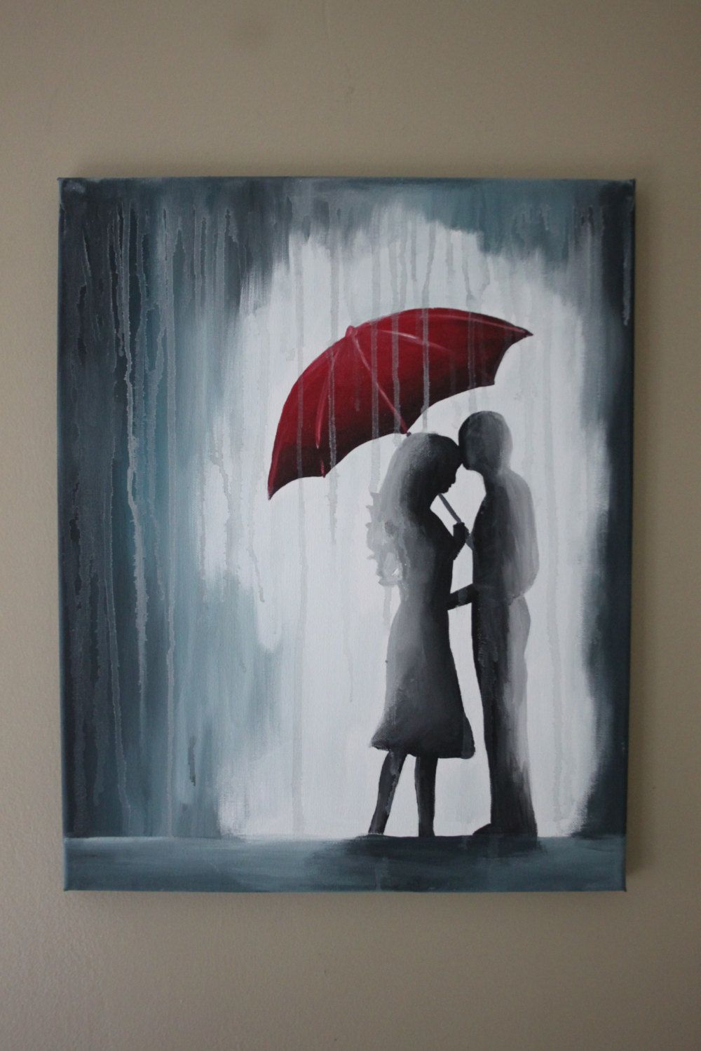 This Is A Painting Of Couple In The Rain Under Red Umbrella