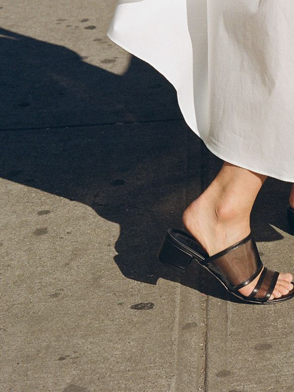 Martina slide, black calf/mesh
