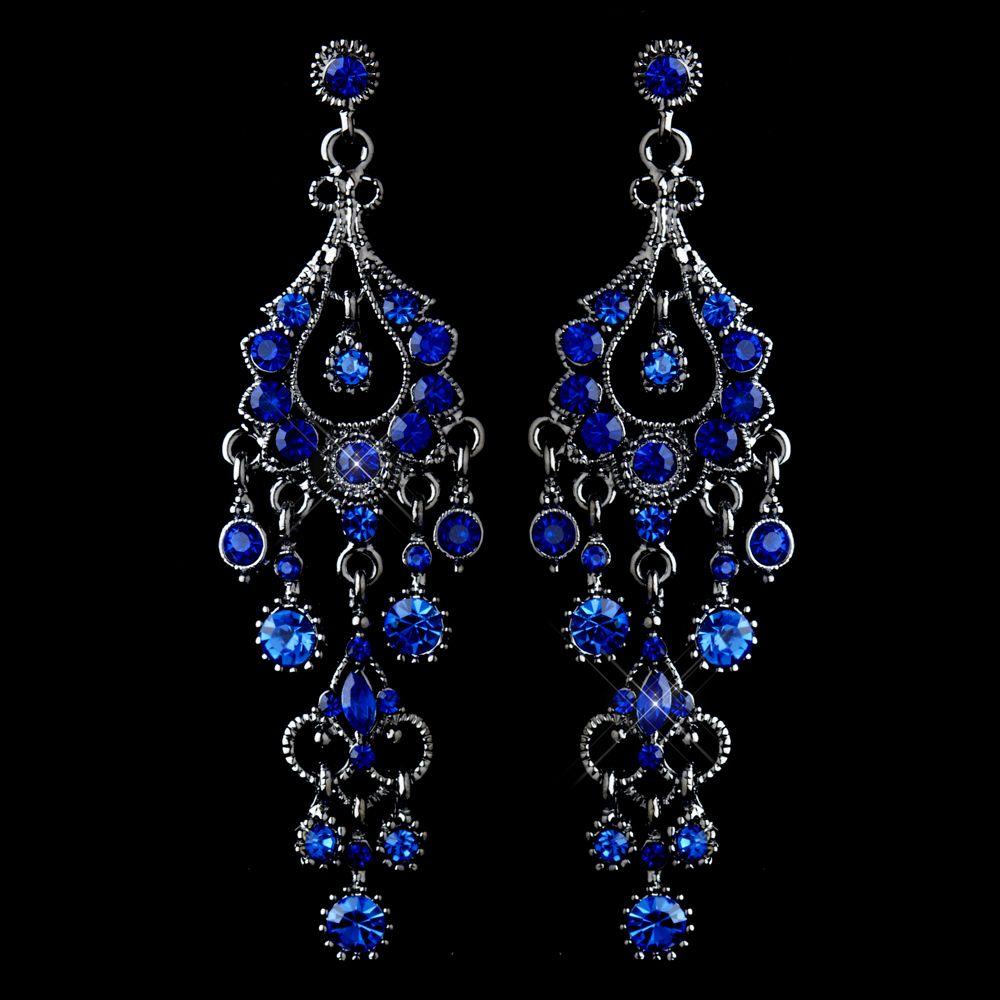 Royal Blue Crystal Chandelier Formal Earrings