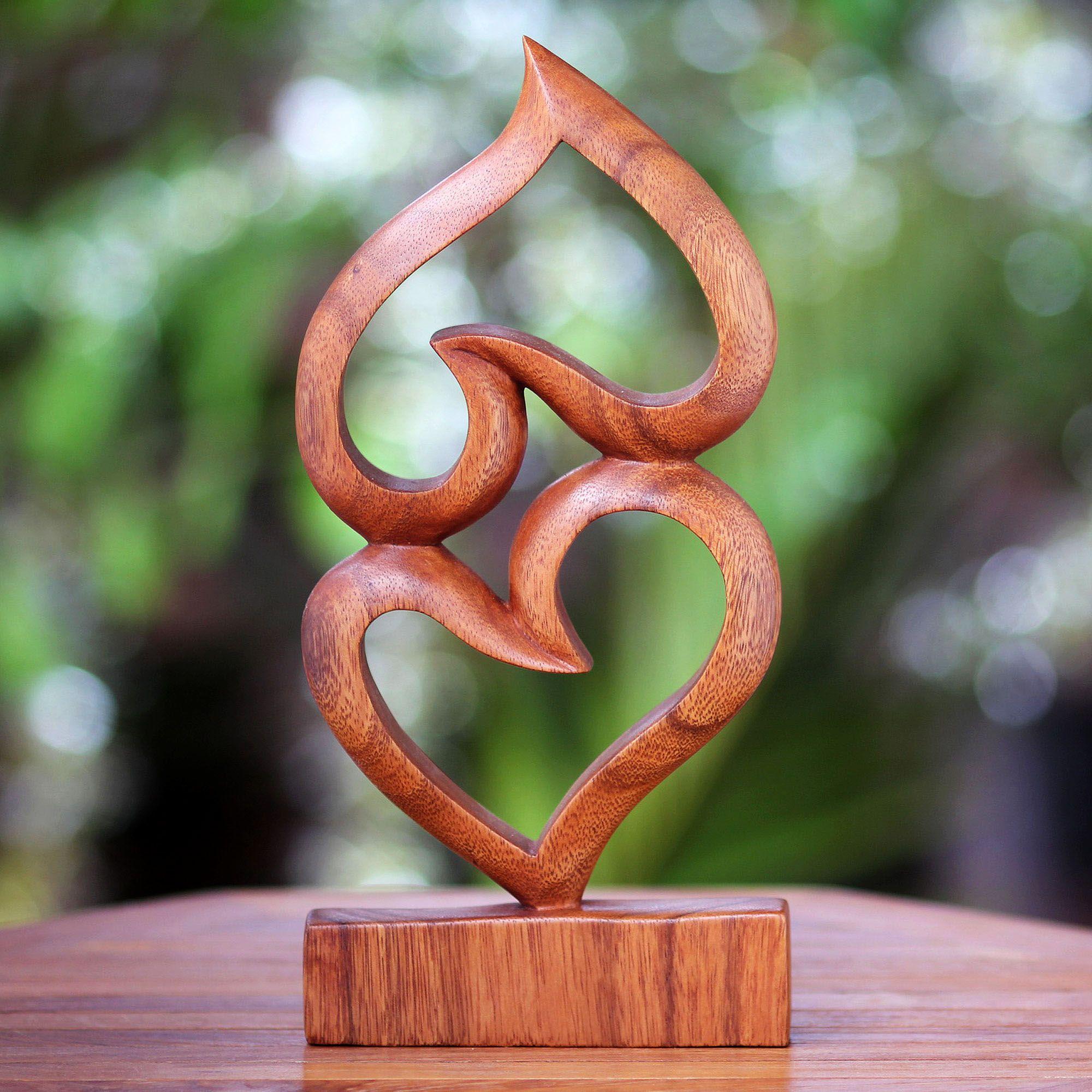 Suar Wood Heart Sculpture Upside Down Love Novica Wood Hearts Wood Carving Tools Wood Gifts