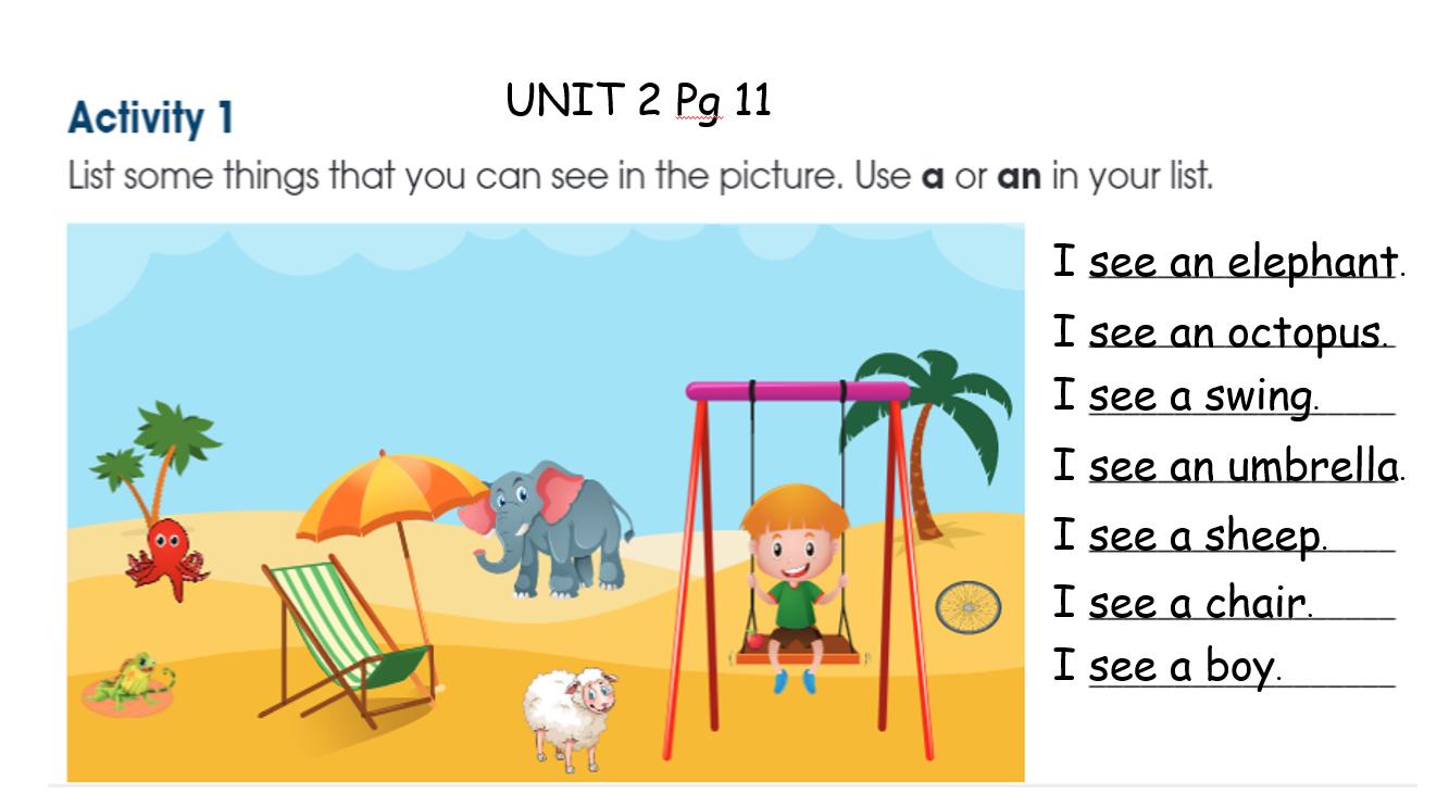 بوربوينت Unit 2 Page 11 للصف الثاني مادة اللغة الانجليزية Activities Elephant The Unit