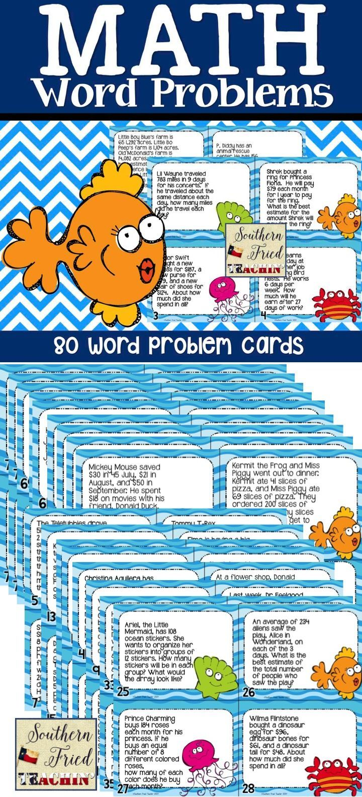 Math Word Problem Task Cards   Fun words, Word problems and Curriculum