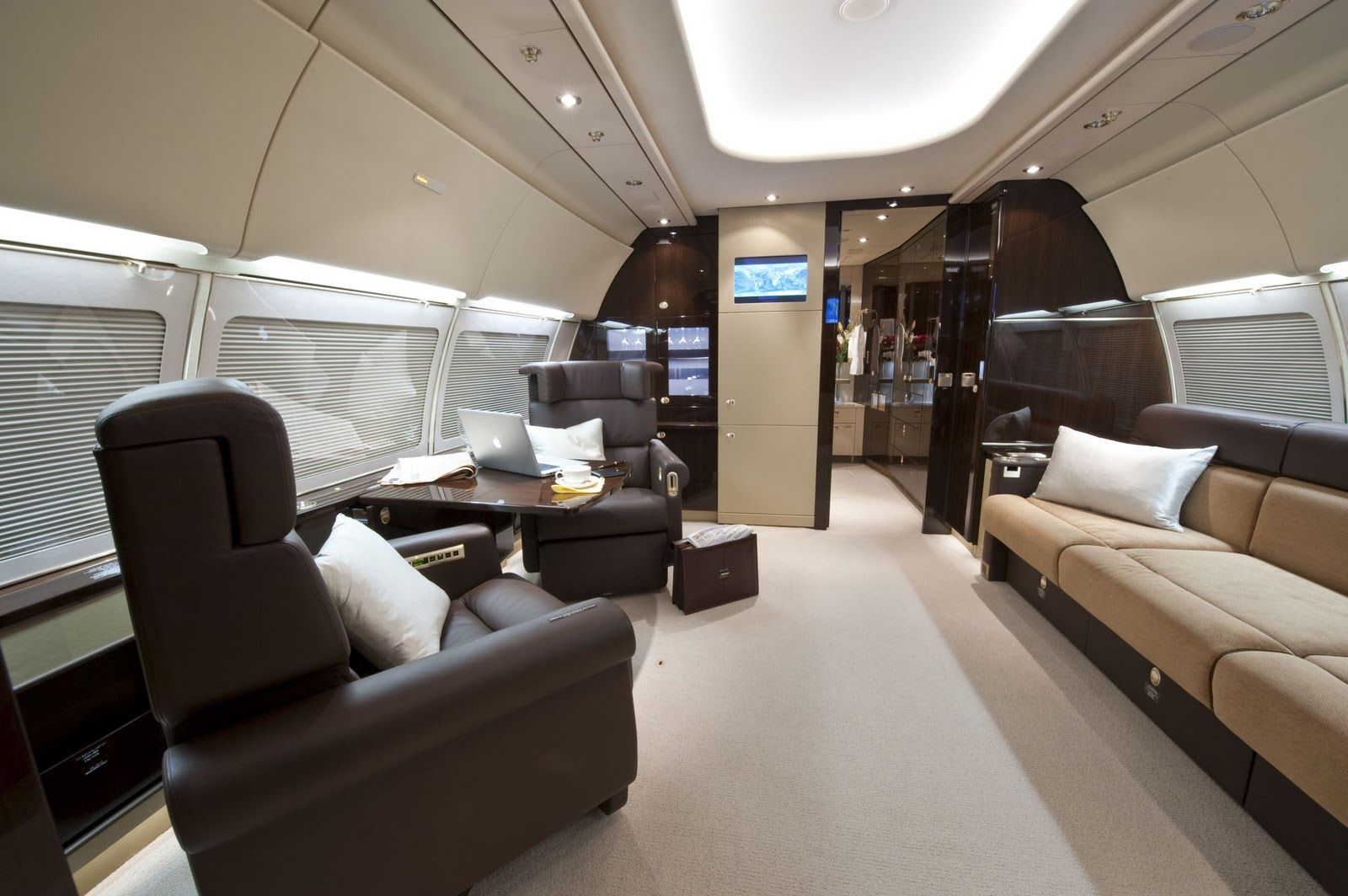 Private jet interior furnished like a vintage train aviation - Inside My Private Jet Dreambig