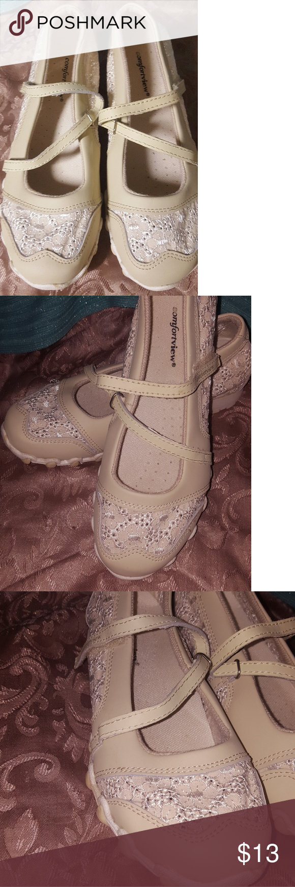 167c801ad Comfort View Women s Shoes 8.5 Fits more like 8 Cross between sandle and  tennis shoe. Very cute ivory color with lace and leather look.