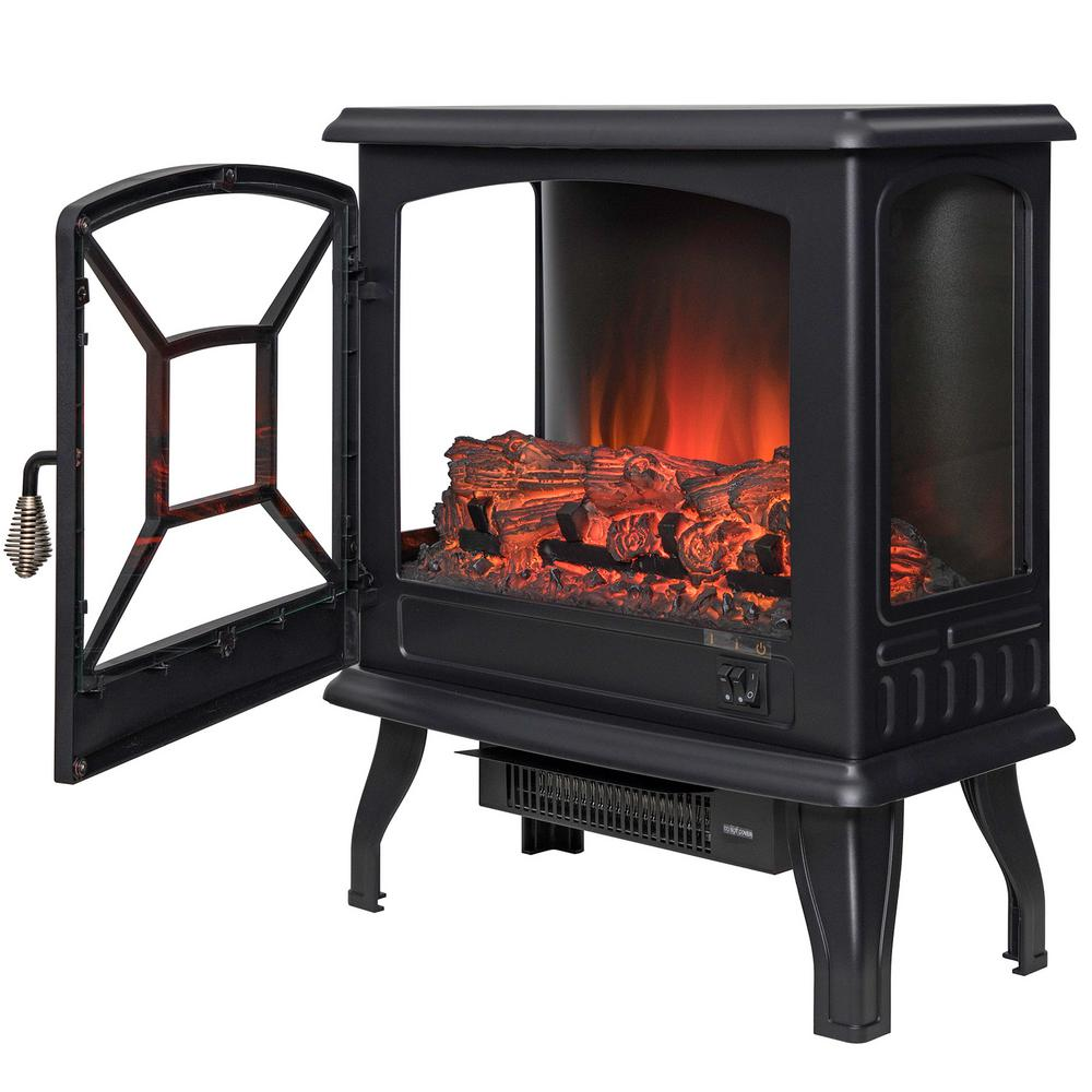 Akdy 20 In Freestanding Electric Fireplace Stove Heater In Black With Vintage Glass Door Realistic Flame And L Electric Fireplace Stove Heater Stove Fireplace