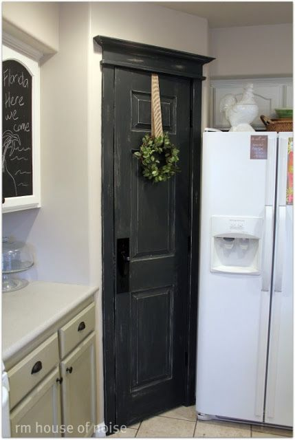 Black Pantry Door With Added Trim In Graphite Annie Sloan We