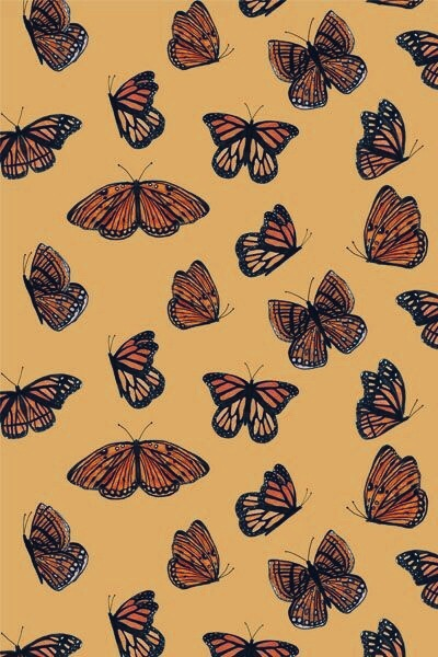 Wallart Wallpaper Wallpapers Lockscreen Background Iphone Android Butterfly Yellow Butterfly Wallpaper Iphone Retro Wallpaper Cute Patterns Wallpaper